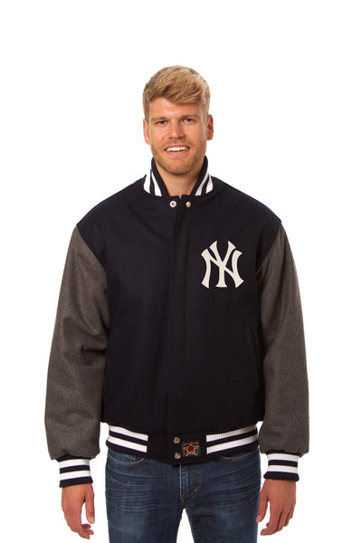 New York Yankees Two-Tone Wool Jacket w/ Handcrafted Leather Logos - Navy/Gray