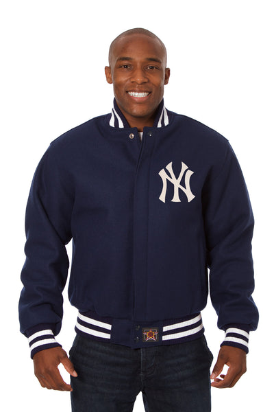 New York Yankees Wool Jacket w/ Handcrafted Leather Logos - Navy