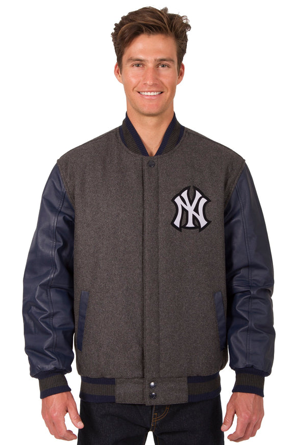 New York Yankees Wool & Leather Reversible Jacket w/ Embroidered Logos - Charcoal/Navy - JH Design