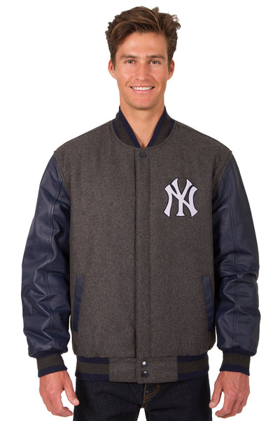 New York Yankees Wool & Leather Reversible Jacket w/ Embroidered Logos - Charcoal/Navy