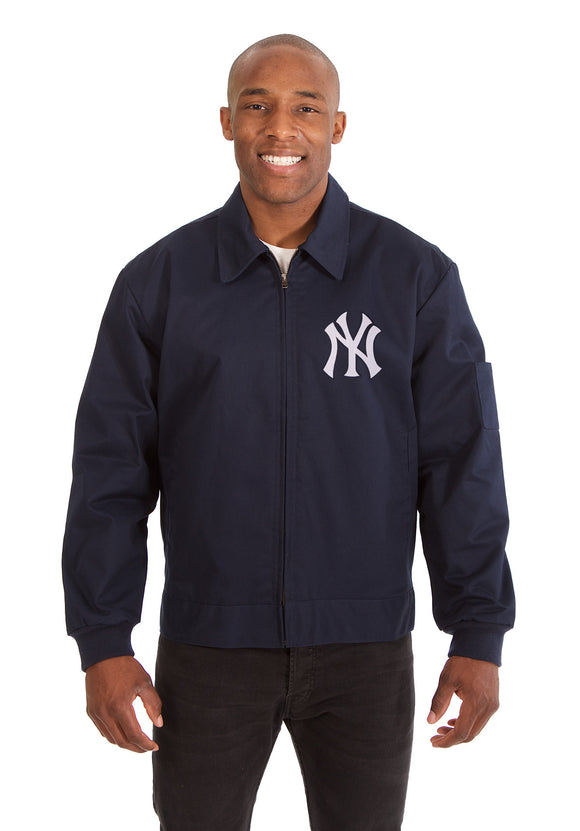 New York Yankees Cotton Twill Workwear Jacket - Navy - JH Design