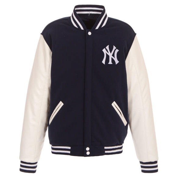 New York Yankees - JH Design Reversible Fleece Jacket with Faux Leather Sleeves - Navy/White - JH Design