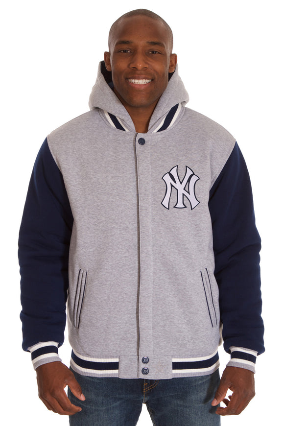 New York Yankees Two-Tone Reversible Fleece Hooded Jacket - Gray/Navy