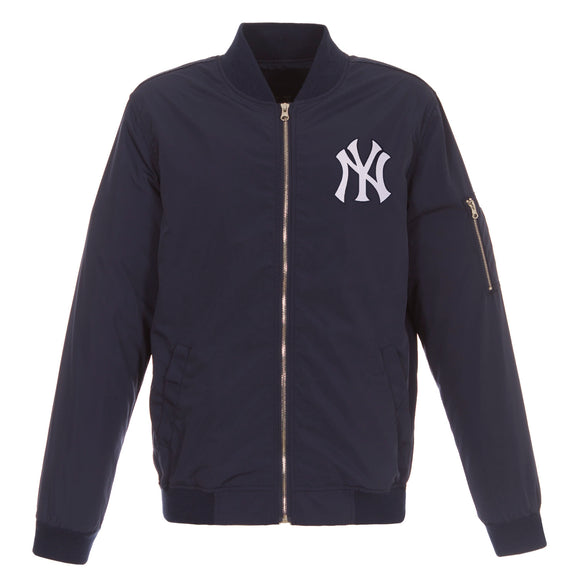 New York Yankees JH Design Lightweight Nylon Bomber Jacket – NY Navy