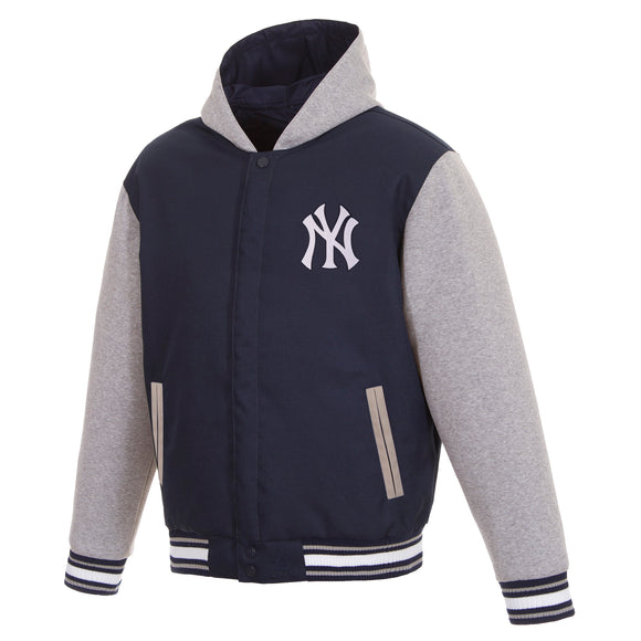 New York Yankees Two-Tone Reversible Fleece Hooded Jacket - Navy/Grey - JH Design