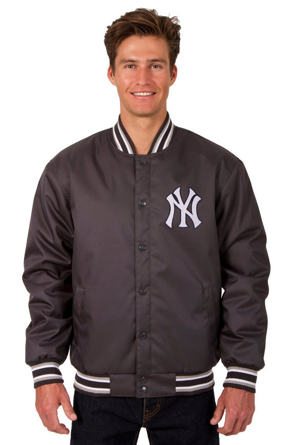 New York Yankees Poly Twill Varsity Jacket - Charcoal - JH Design
