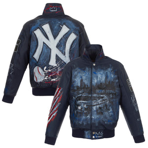 New York Yankees JH Design Hand-Painted Leather Jacket - Navy - JH Design