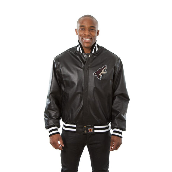 Arizona Coyotes Full Leather Jacket - Black - JH Design