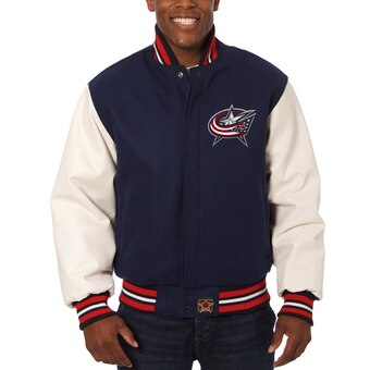 Columbus Blue Jackets Two-Tone Wool and Leather Jacket - Navy - JH Design
