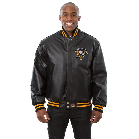 Pittsburgh Penguins Full Leather Jacket - Black - JH Design