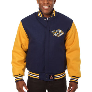 Nashville Predators Embroidered All Wool Two-Tone Jacket - Navy/Gold - JH Design