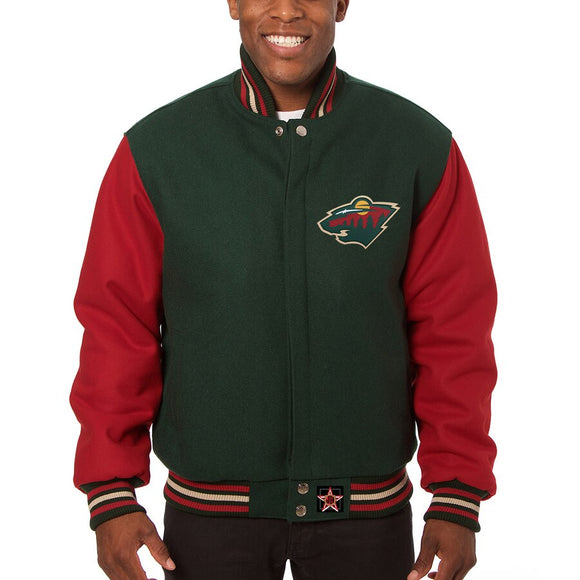Minnesota Wild Embroidered Wool Two-Tone Jacket - Green/Red - JH Design