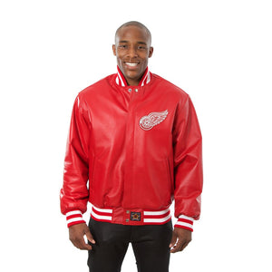 Detroit Red Wings Full Leather Jacket - Red - JH Design