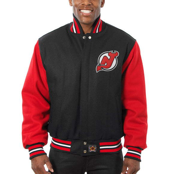 New Jersey Devils  Embroidered All Wool Two-Tone Jacket - Black/Red - JH Design