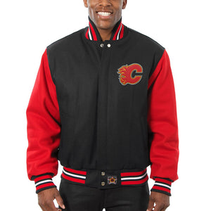 Calgary Flames Two-Tone All Wool Jacket - Black/Red - JH Design