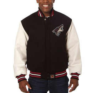 Arizona Coyotes Two-Tone Wool and Leather Jacket - Black - JH Design
