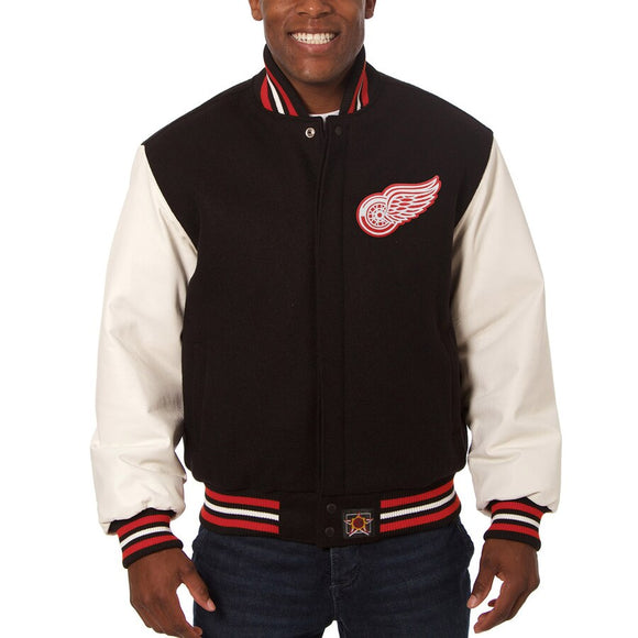Detroit Red Wings Two-Tone Wool and Leather Jacket - Black - JH Design