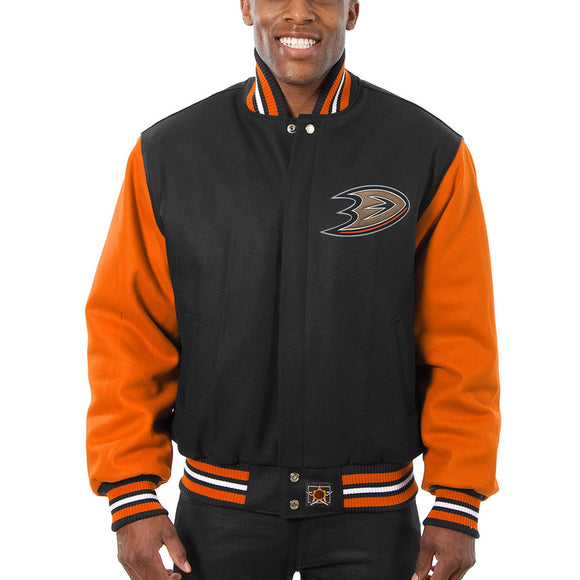 Anaheim Ducks Two-Tone All Wool Jacket - Black/Orange - JH Design