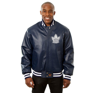 Toronto Maple Leafs Alternate Logo Full Leather Jacket - Navy - JH Design