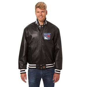 New York Rangers Full Leather Jacket - Black - JH Design
