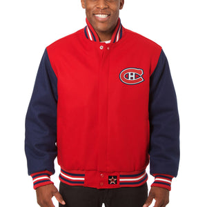 Montreal Canadiens Embroidered Wool Two-Tone Jacket - Red/Navy - JH Design