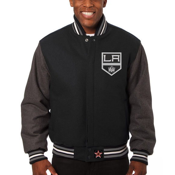 Los Angeles Kings Embroidered All Wool Two-Tone Jacket - Black/Gray - JH Design