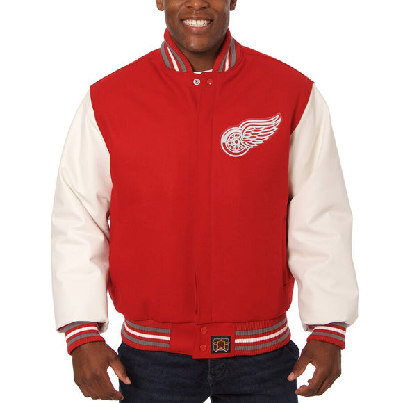 Detroit Red Wings Two-Tone Wool and Leather Jacket - Red - JH Design
