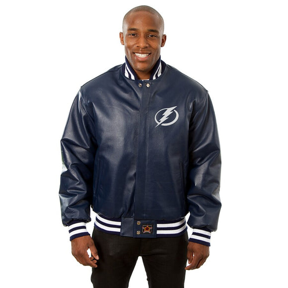 Tampa Bay Lightning Full Leather Jacket - Navy - JH Design