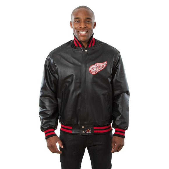 Detroit Red Wings Full Leather Jacket - Black - JH Design