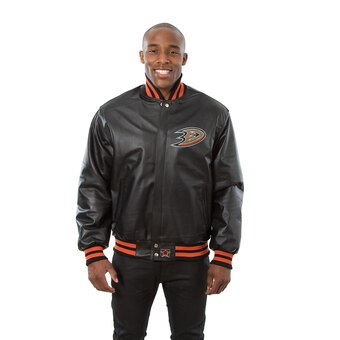 Anaheim Ducks Full Leather Jacket - Black - JH Design