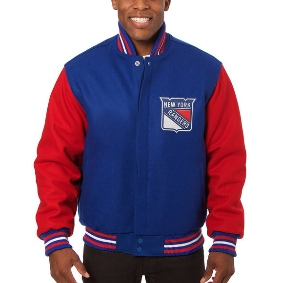 New York Rangers Embroidered All Wool Two-Tone Jacket - Blue/Red - JH Design