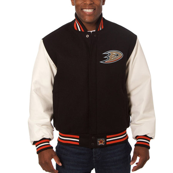 Anaheim Ducks Two-Tone Wool and Leather Jacket - Black - JH Design