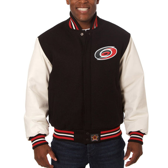 Carolina Hurricanes Two-Tone Wool and Leather Jacket - Black - JH Design