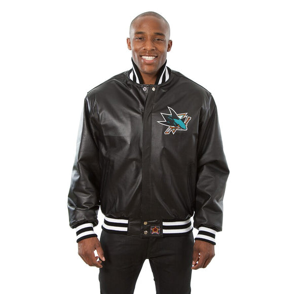 San Jose Sharks Full Leather Jacket - Black - JH Design