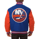 New York Islanders Embroidered All Wool Two-Tone Jacket - Royal/Orange - JH Design