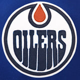 Edmonton Oilers Two-Tone Wool and Leather Jacket - Royal - JH Design