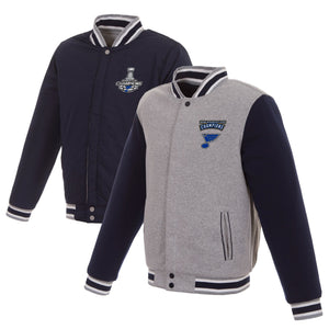 St. Louis Blues JH Design 2019 Stanley Cup Champions Reversible Two-Tone Fleece Jacket - Navy/Gray - JH Design
