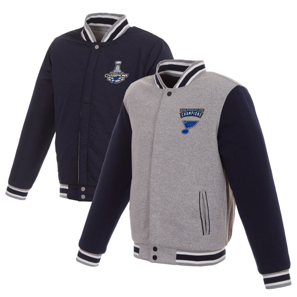 St. Louis Blues JH Design 2019 Stanley Cup Champions Reversible Two-Tone Fleece Jacket - Navy/Gray