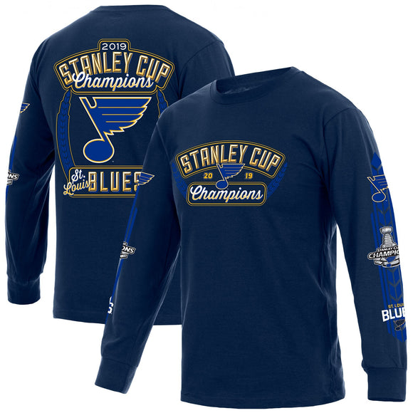 St. Louis Blues JH Design 2019 Stanley Cup Champions Long Sleeve T-Shirt - Navy