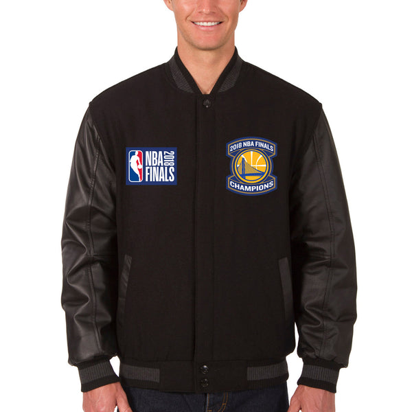 Golden State Warriors JH Design 2018 NBA Finals Champions Wool & Leather Reversible Full-Snap Jacket – Black