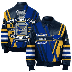 St. Louis Blues JH Design 2019 Stanley Cup Champions Nappa Leather Jacket - Navy