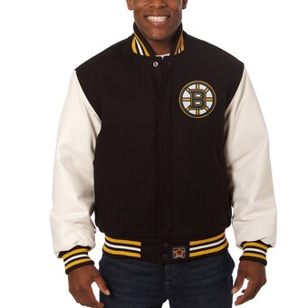 Boston Bruins Two-Tone Wool and Leather Jacket - Black - JH Design