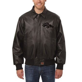 Denver Broncos JH Design Tonal Leather Jacket - Black - JH Design