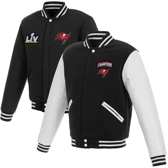 Tampa Bay Buccaneers Super Bowl LV Champions Reversible Fleece and Faux Leather Full-Snap Jacket - Black/White - J.H. Sports Jackets