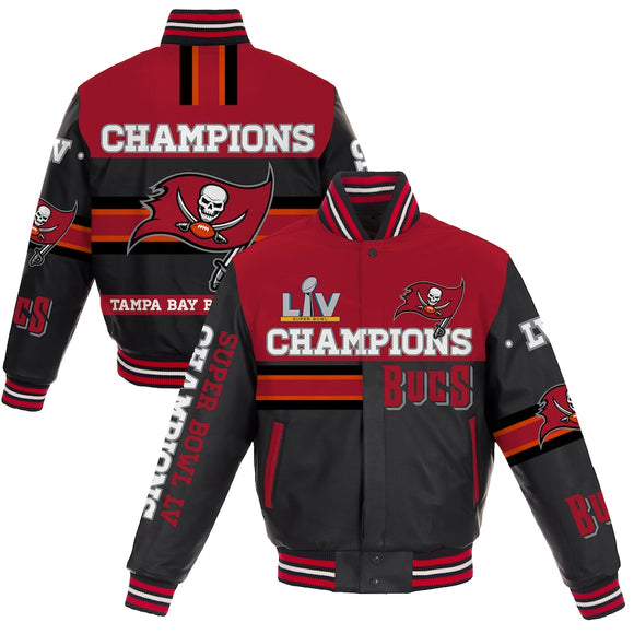 Tampa Bay Buccaneers Super Bowl LV Champions All-Leather Full-Snap Jacket - Black - J.H. Sports Jackets