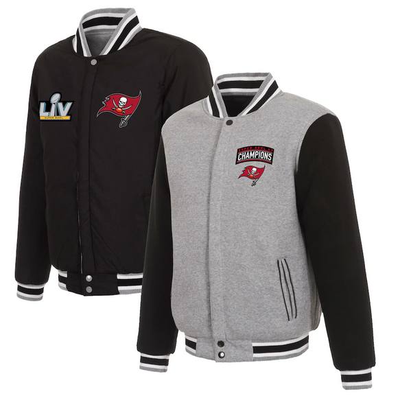 Tampa Bay Buccaneers Super Bowl LV Champions Reversible Fleece Full-Snap Jacket - Gray/Black - J.H. Sports Jackets