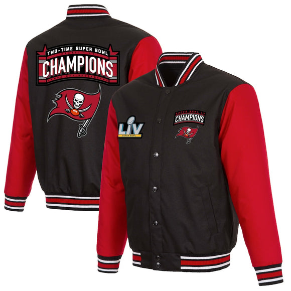 Tampa Bay Buccaneers 2-Time Super Bowl Champions Full-Snap Jacket - Black/Red - J.H. Sports Jackets