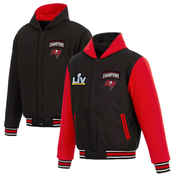Tampa Bay Buccaneers Super Bowl LV Champions Reversible Hooded Fleece and Poly-Twill Full-Snap Jacket - Black - J.H. Sports Jackets