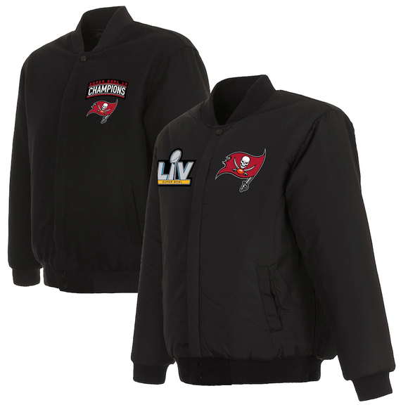 Tampa Bay Buccaneers  Super Bowl LV Champions Reversible Wool Full-Snap Jacket - Black - J.H. Sports Jackets