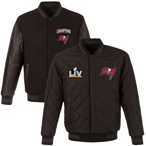 Tampa Bay Buccaneers Super Bowl LV Champions Reversible Wool and Leather Full-Snap Jacket - Black - J.H. Sports Jackets
